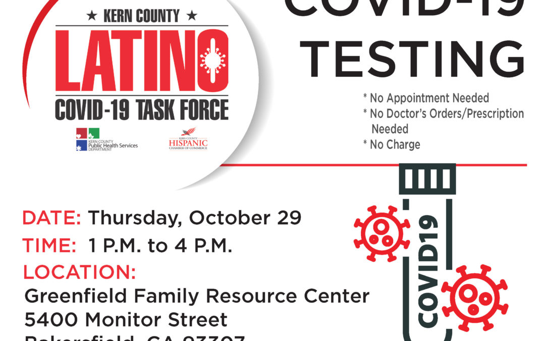 Kern County's Latino COVID-19 Task Force to Host Two Free Testing Sites This Week