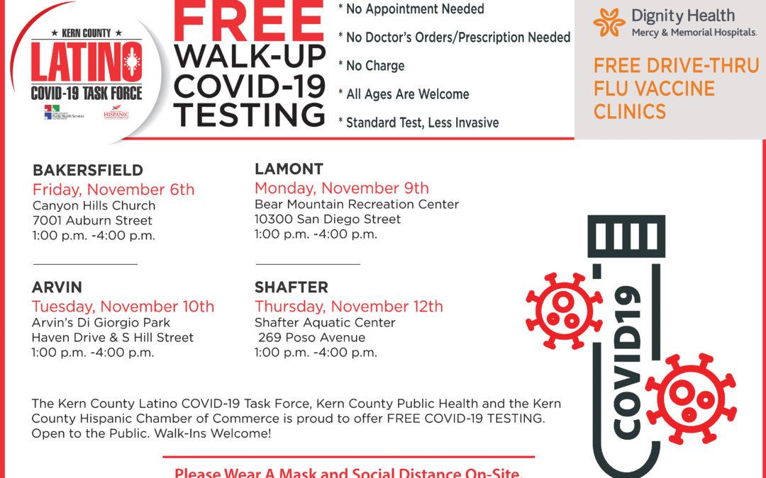 Free COVID-19 Testing and Drive-Thru Flu Shot Clinic