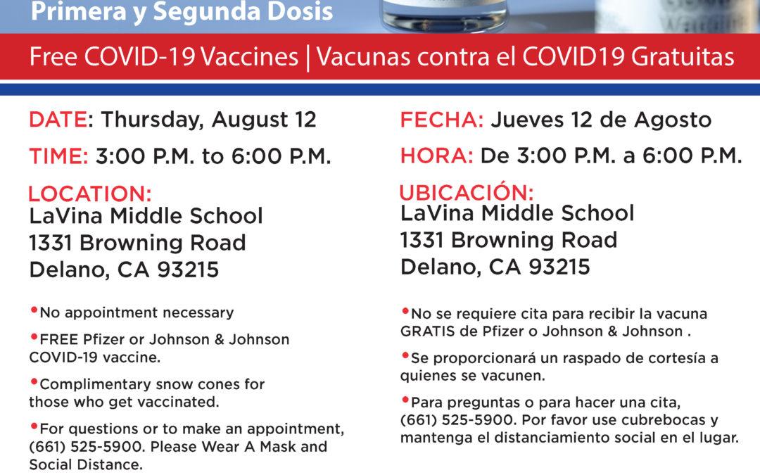 August 12: Delano Vaccination Clinic